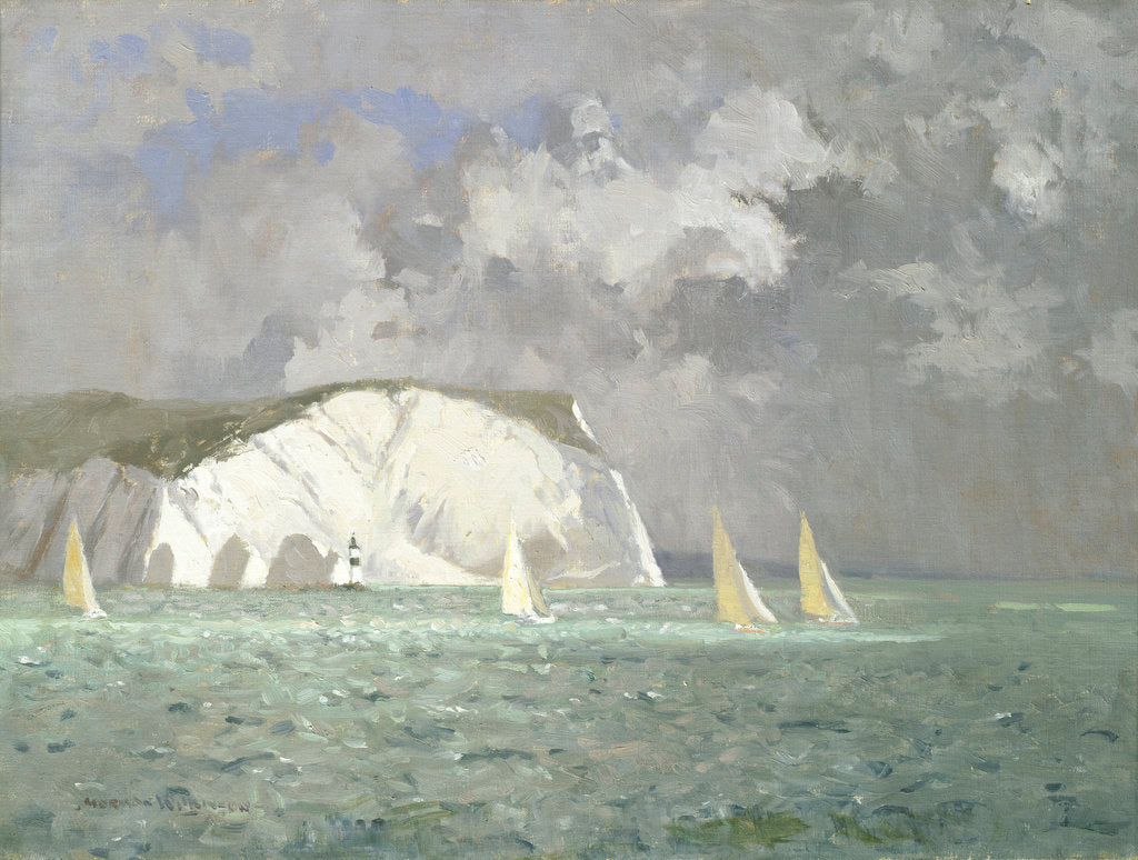 Detail of Yachts off the Needles, Isle of Wight by Norman Wilkinson
