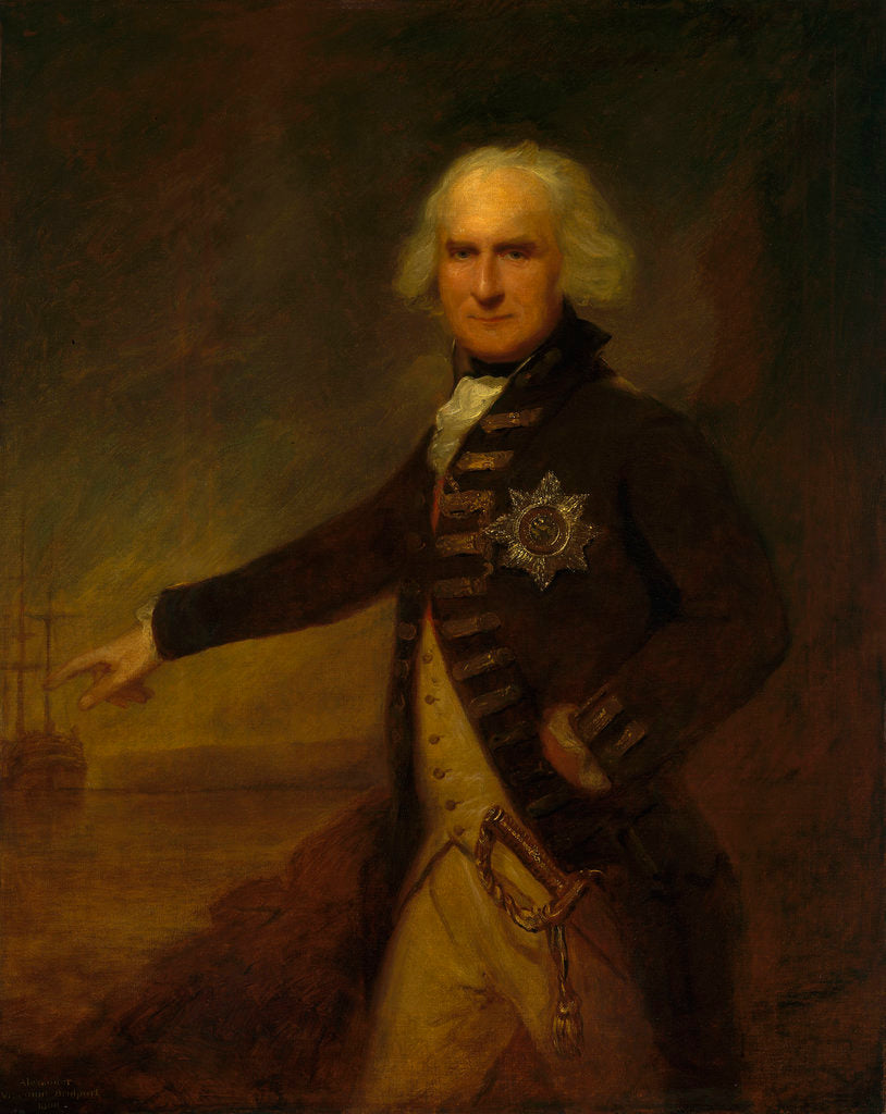 Detail of Admiral Alexander Hood, 1st Viscount Bridport (1727-1814) by Lemuel Francis Abbott