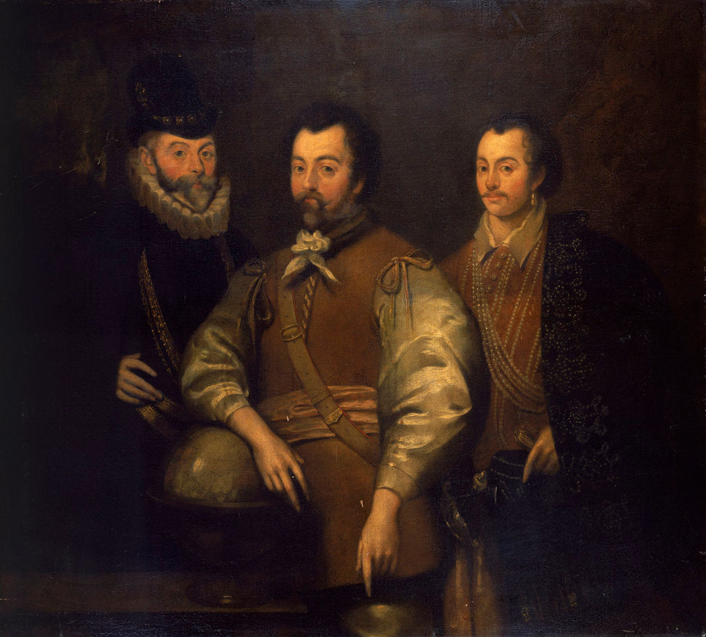 Detail of Thomas Cavendish, Sir Francis Drake and Sir John Hawkins by unknown