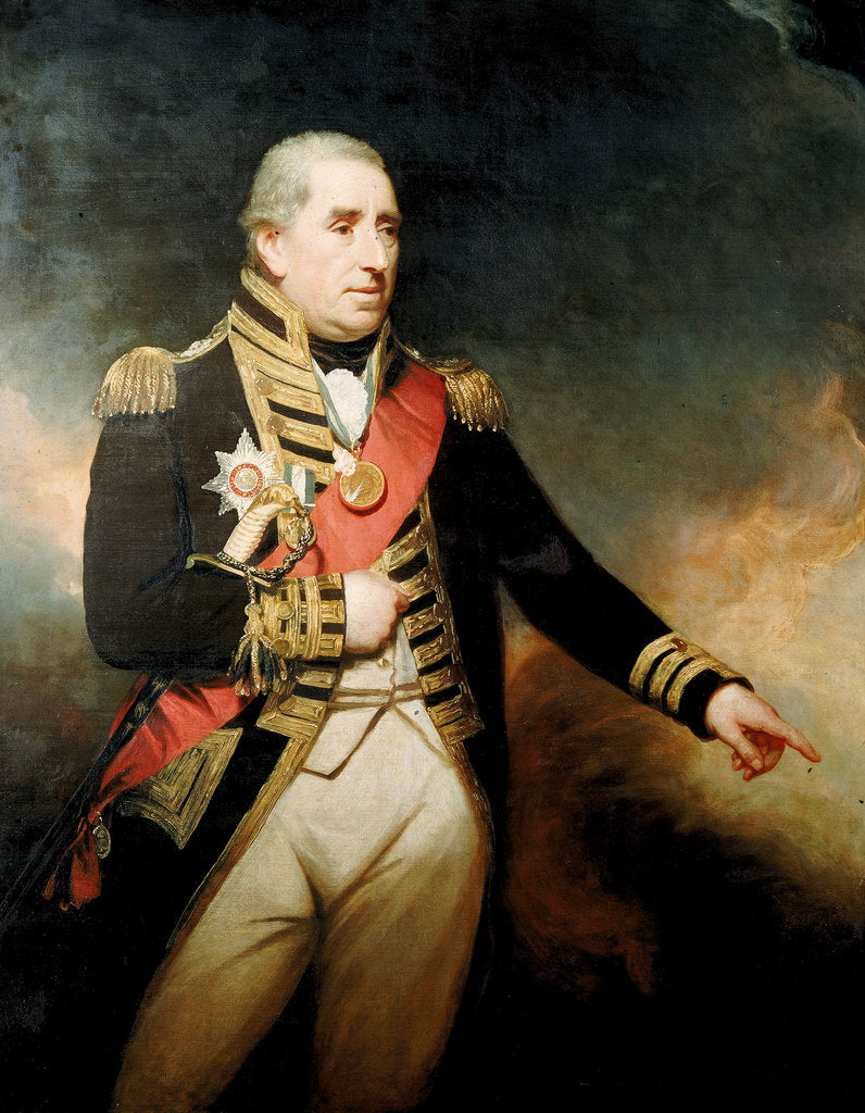 Detail of Admiral Sir John Thomas Duckworth (1748-1817) by William Beechey