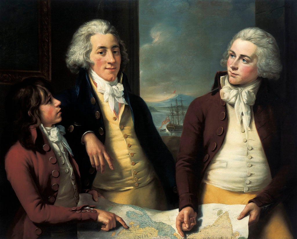 Detail of The Money brothers: William (1769-1834), James (1772-1833) and Robert Taylor (1775-1803) by John Francis Rigaud