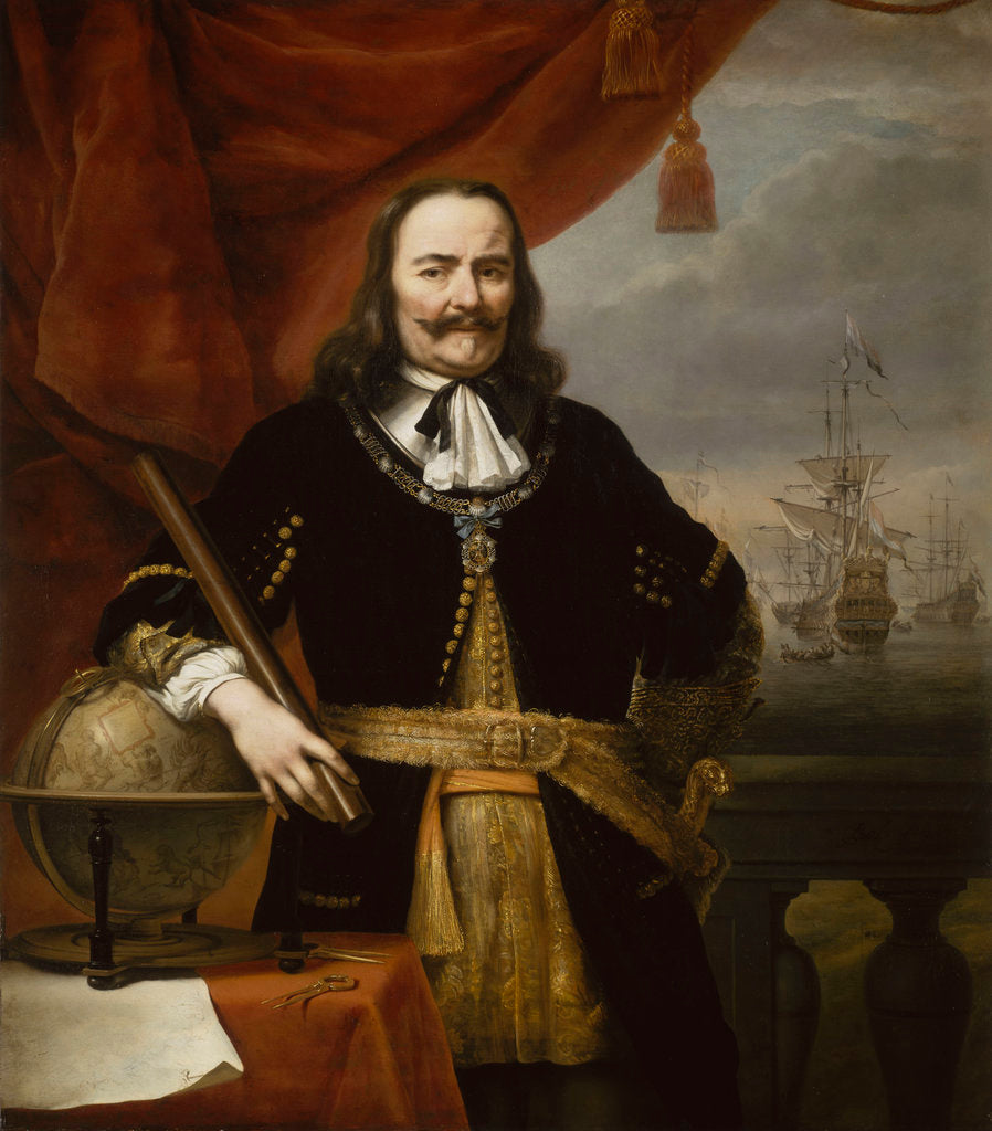 Detail of Michiel Adriaenszoon de Ruyter, Lieutenant-Admiral-General of the United Provinces (1607-1676) by Ferdinand Bol