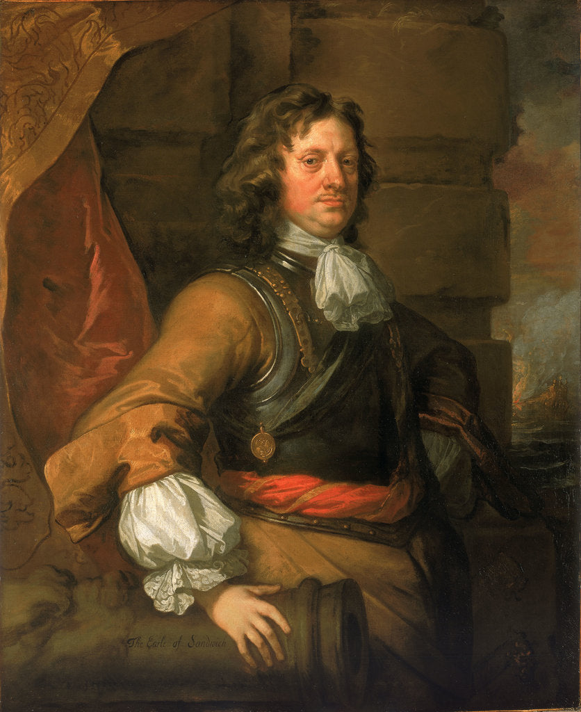 Detail of Flagmen of Lowestoft: Edward Montagu, 1st Earl of Sandwich (1625-1672) by Peter Lely