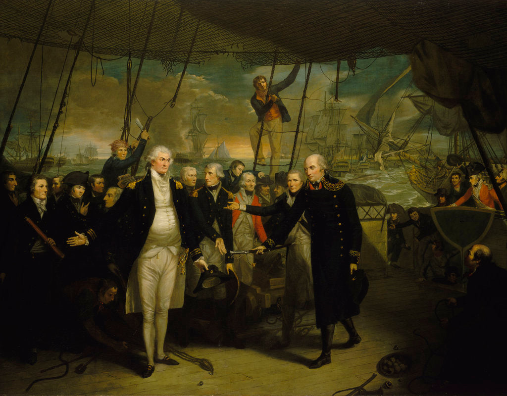 Detail of Duncan receiving the surrender of de Winter at the Battle of Camperdown, 11 October 1797 by Daniel Orme