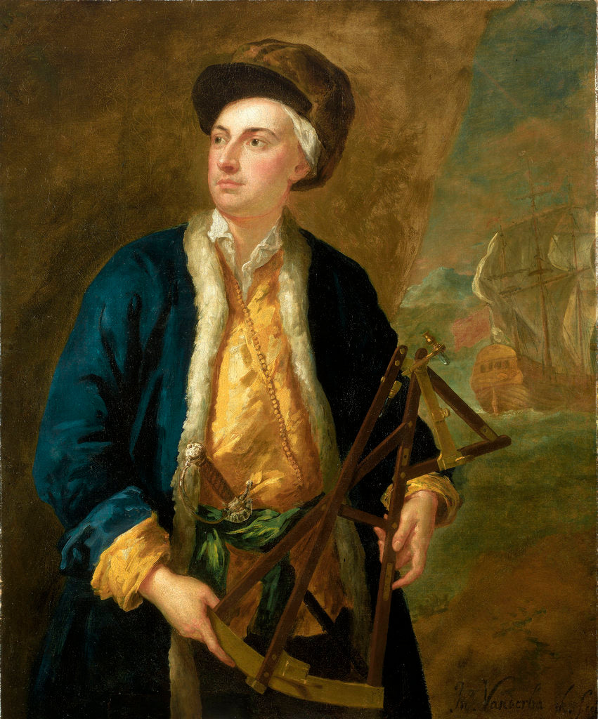 Detail of A merchant captain with Elton's quadrant by John Vanderbank