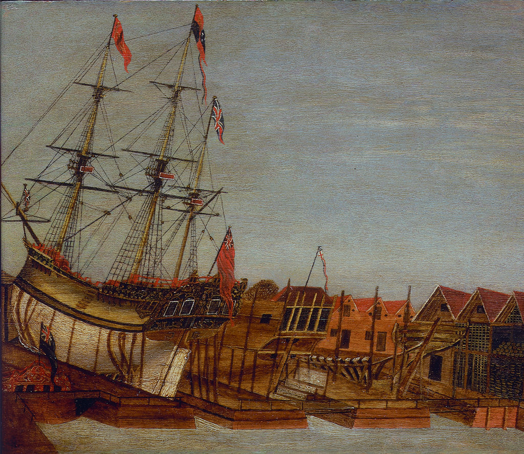 Detail of Launch of HMY 'Augusta', Deptford 1771 by Frederick Augustus
