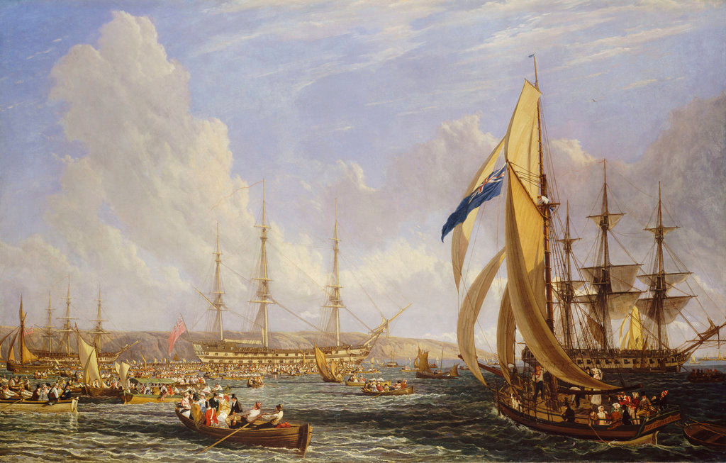 Detail of Scene in Plymouth sound in August 1815 by John James Chalon