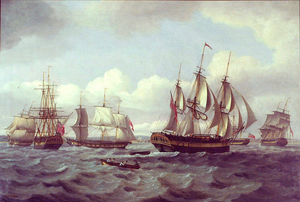 Detail of The ship 'Castor' and other vessels in a choppy sea by Thomas Luny
