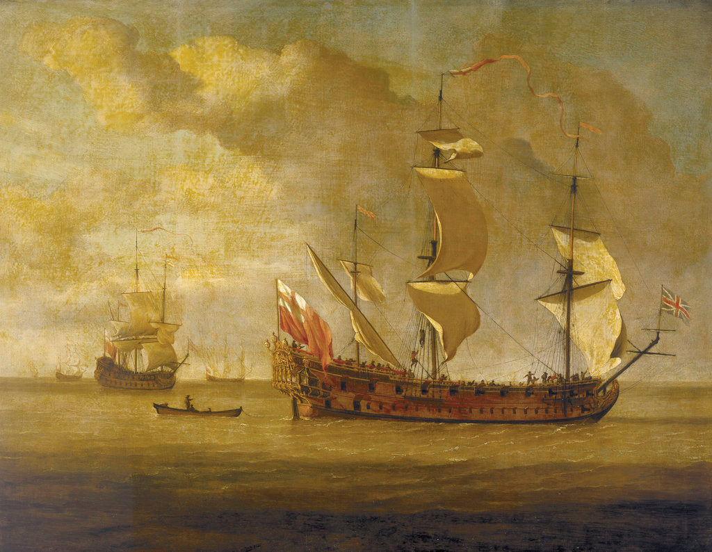 Detail of The 'Charles Galley' before a light breeze by Willem Van de Velde the Younger