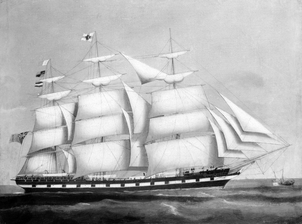 Detail of The ship 'Corona' by British School