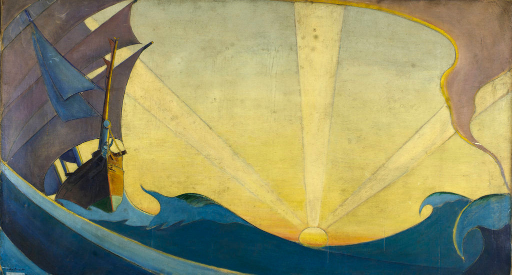 Detail of 'Cutty Sark' at sunset by John Everett