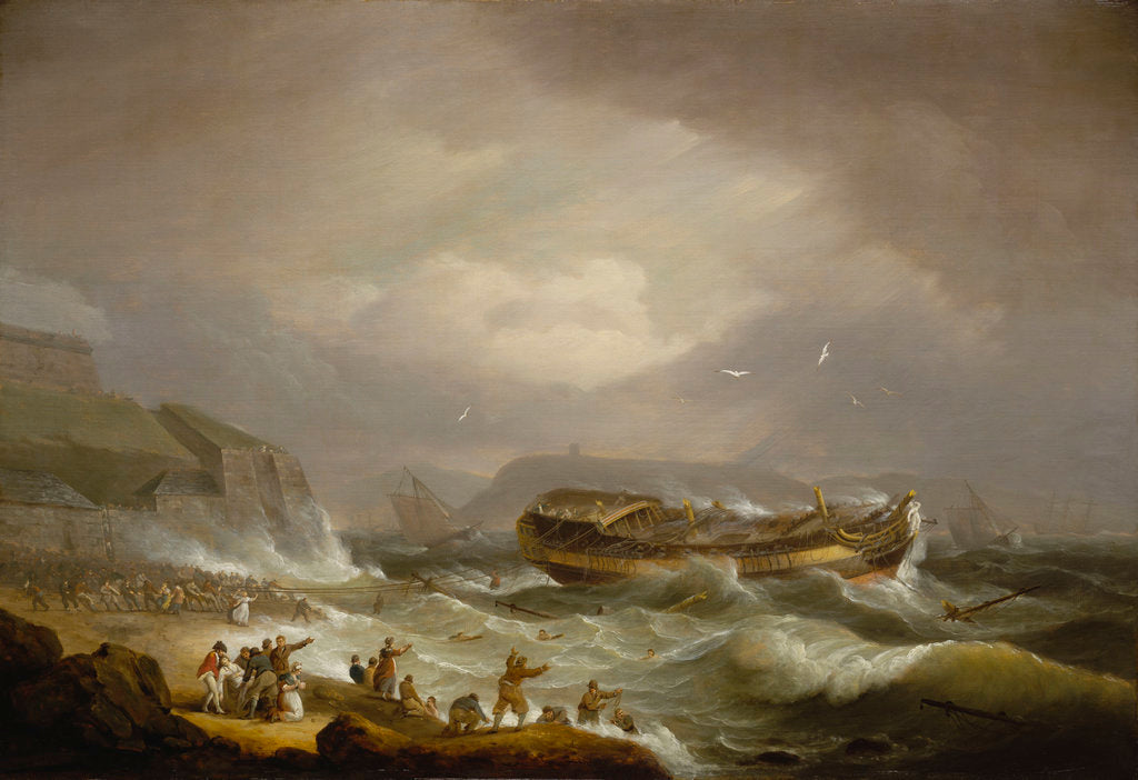 Detail of The wreck of the East Indiaman 'Dutton' at Plymouth Sound, 26 January 1796 by Thomas Luny