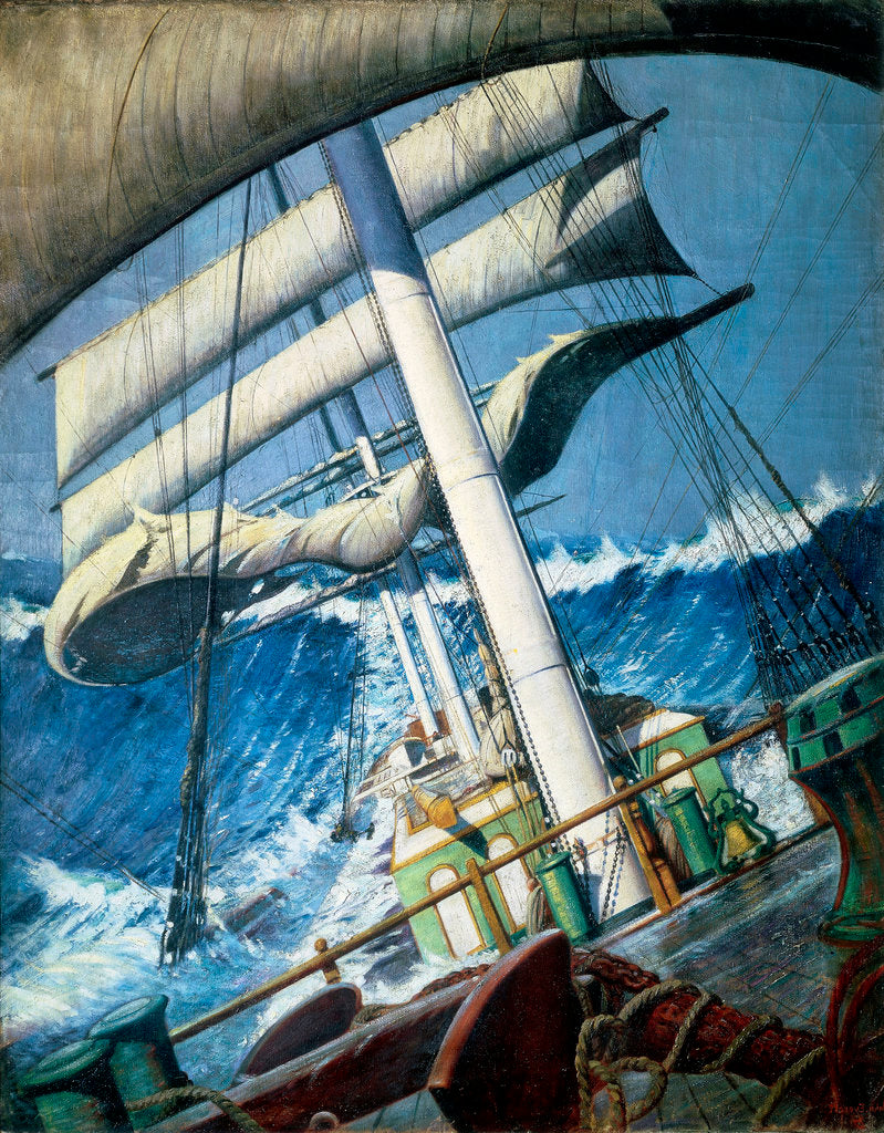Detail of The deck of the barque 'Endymion' in a heavy sea by John Everett