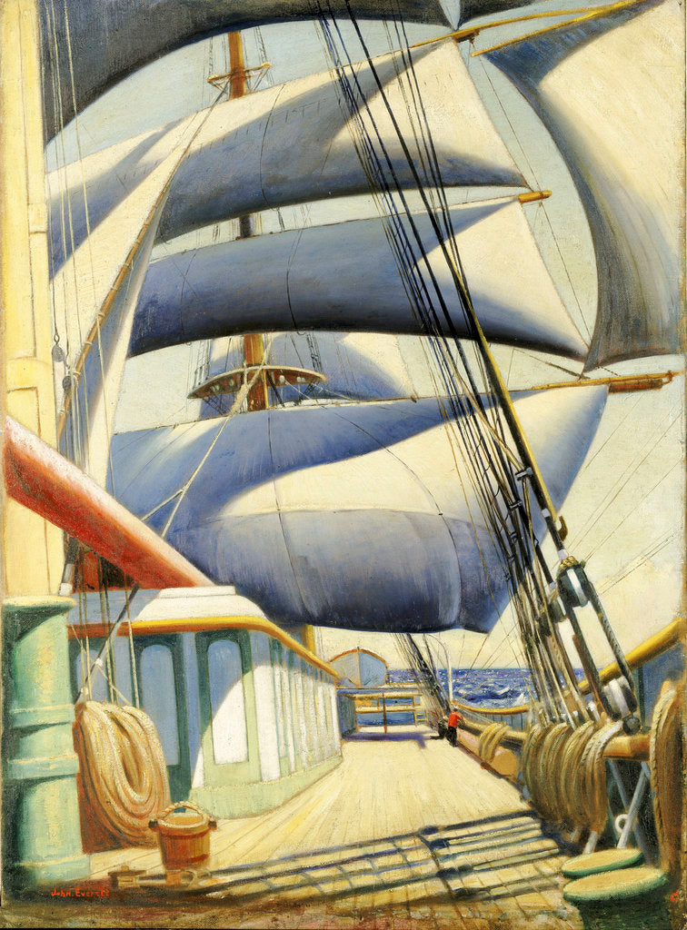 Detail of A view of the 'Endymion' aft in fair weather by John Everett