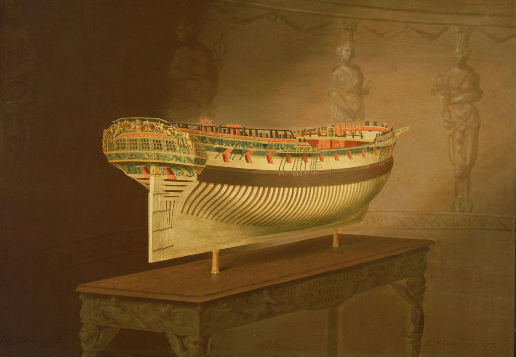Detail of A model of HMS 'Enterprise' by Joseph Marshall