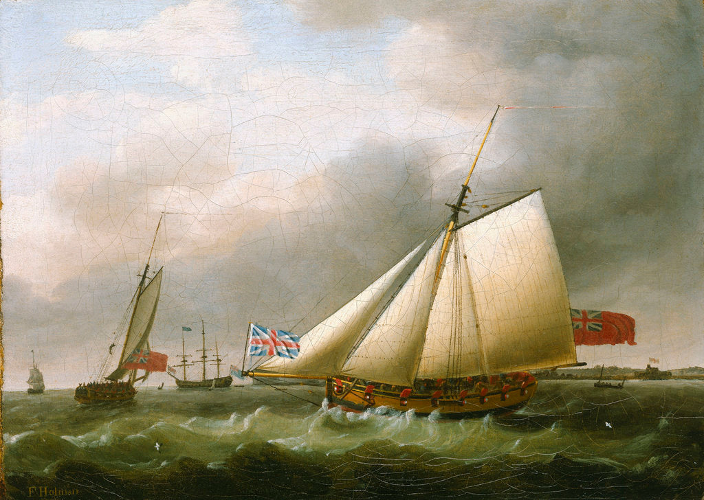 Detail of The Privateer 'Fly' and other vessels by Francis Holman