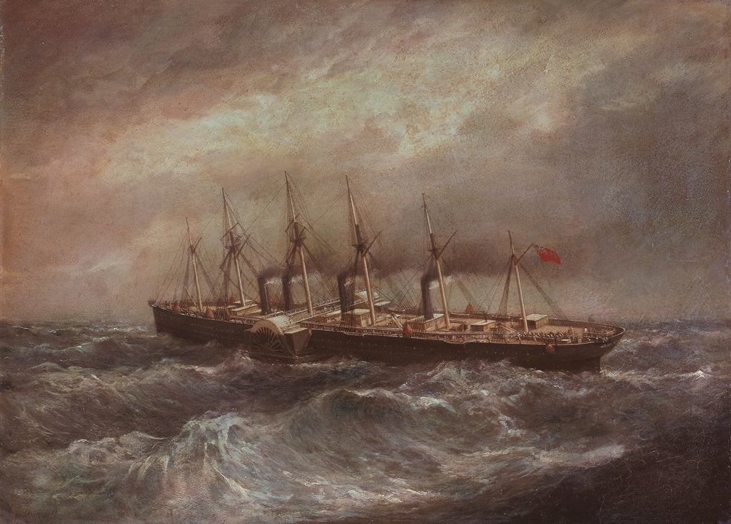 Detail of The steamship 'Great Eastern' (1858) laying the first successful Atlantic cable by Henry Clifford