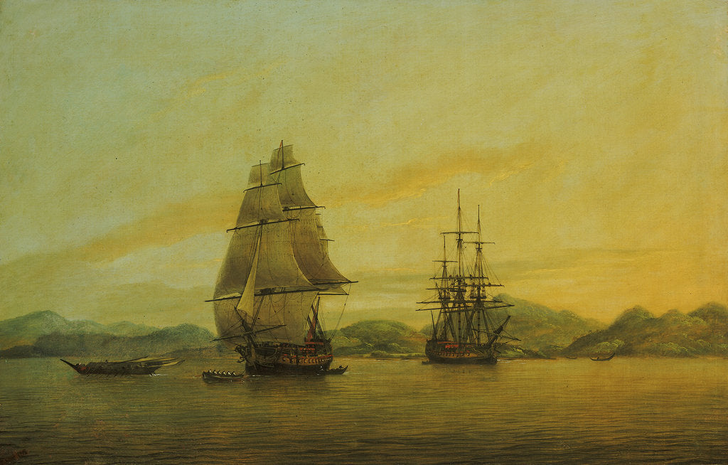 Detail of The East Indiaman 'Hindustan' and other vessels by Thomas Luny