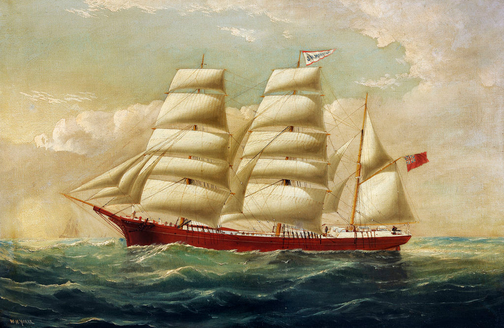 Detail of The barque J H Marsters in full sail by William Horde Yorke