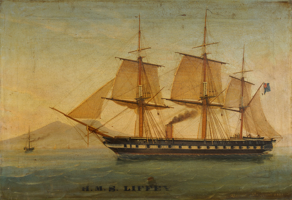 Detail of The frigate HMS 'Liffey' by Tommaso de Simone