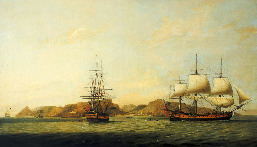 Detail of The East Indiaman 'Northumberland' off Saint Helena by Thomas Luny