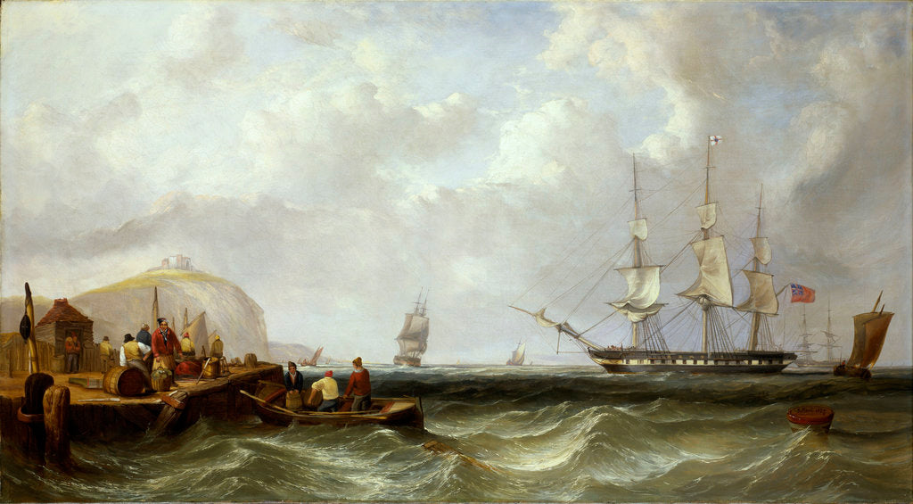 Detail of The Blackwall frigate 'Owen Glendower' at anchor off a coastline by G. W. Butland