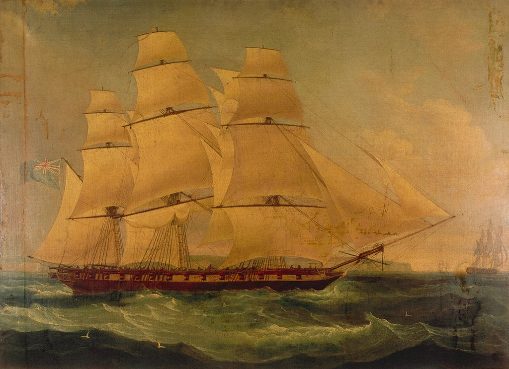Detail of The East Indiaman 'Providence' by Thomas Whitcombe