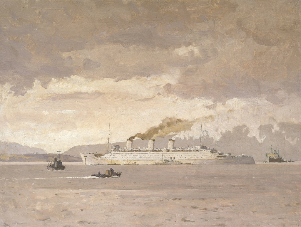 Detail of The passenger liner 'Queen Mary' raising steam by Norman Wilkinson
