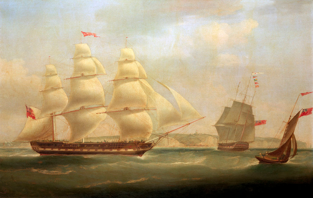 Detail of The East Indiaman 'Roxburgh Castle' with the ship 'Sir Edward Paget' off Dover by William John Huggins