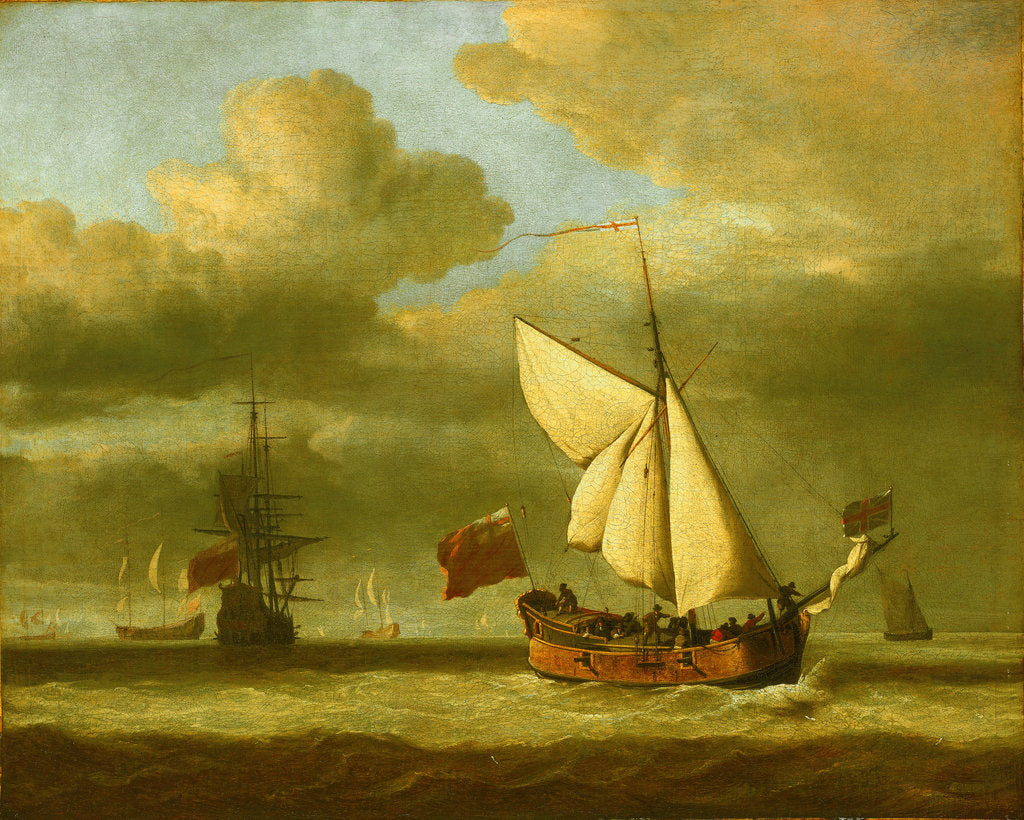Detail of The yacht 'Royal Escape' close-hauled in a breeze by Willem Van de Velde the Younger