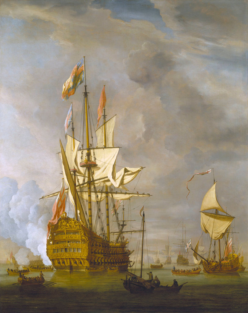 Detail of Calm: HMS 'Royal Sovereign' with a Royal yacht in a light air by Willem Van de Velde the Younger
