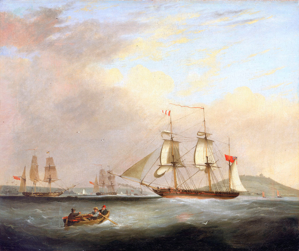 Detail of HMP Brig 'Sheldrake', Lt Passingham entering Falmouth harbour by Nicolas Matthew Condy