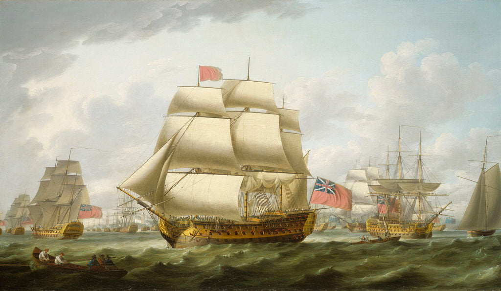 Detail of The 'Victory' sailing from Spithead by Robert Dodd