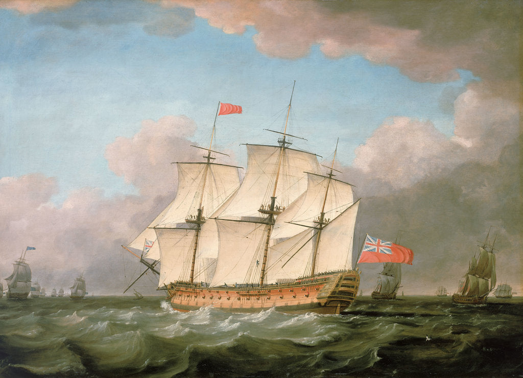 Detail of The 'Victory' leaving the Channel in 1793 by Monamy Swaine