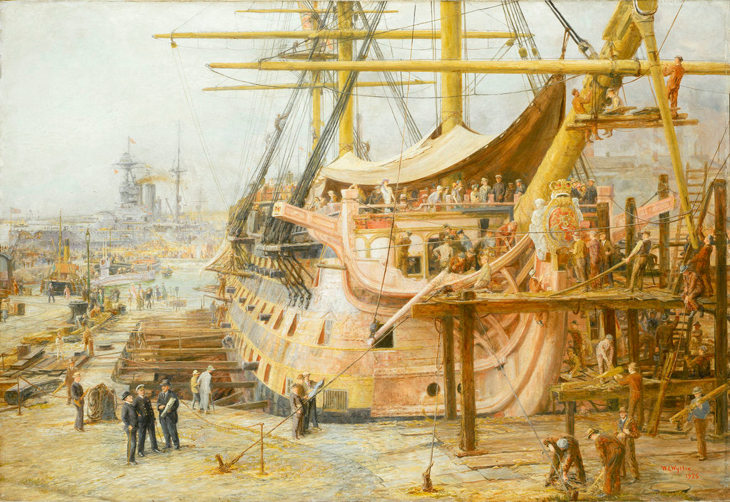 Detail of The restoration of HMS 'Victory' by William Lionel Wyllie
