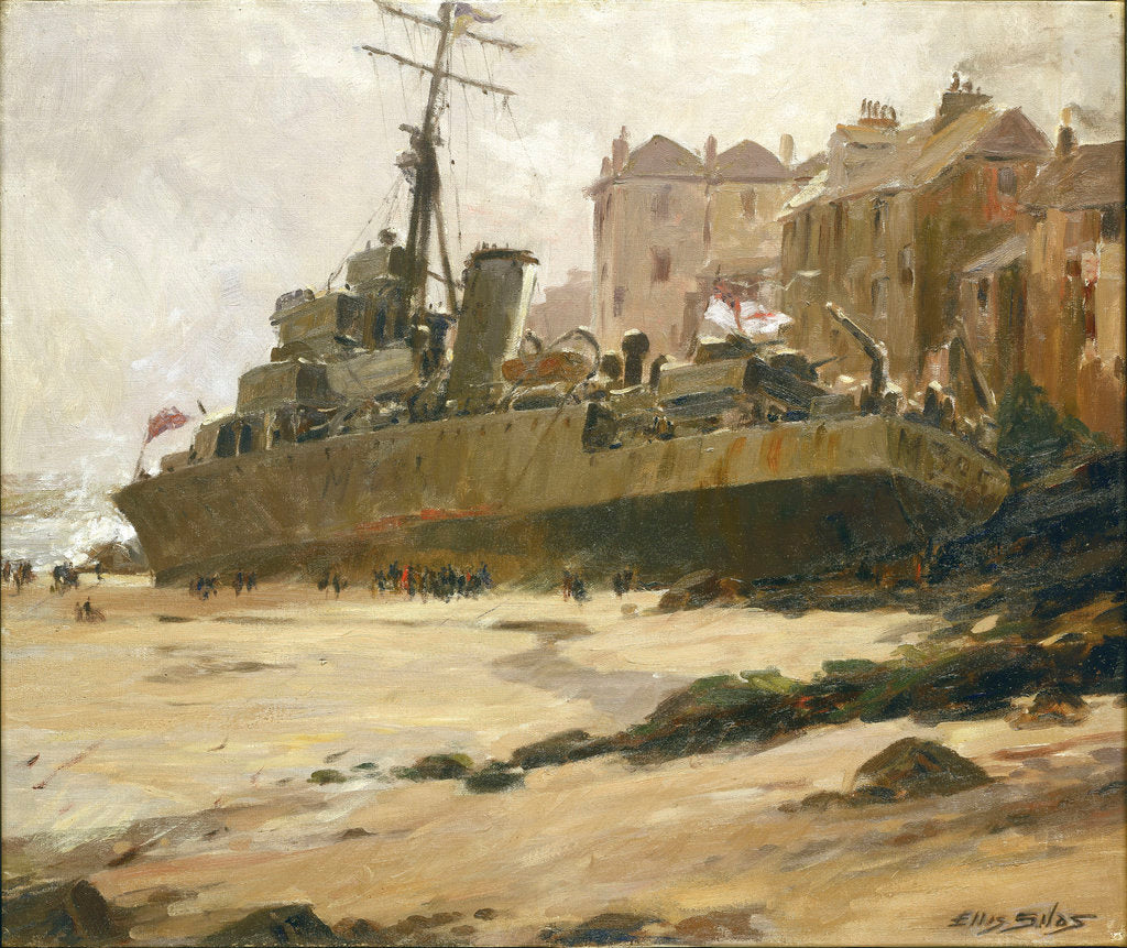 Detail of HMS 'Wave' Ashore at St Ives, 1952 by Ellis Silas