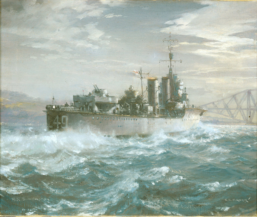 Detail of HMS Woolston (1918) in a heavy sea by Charles E Turner