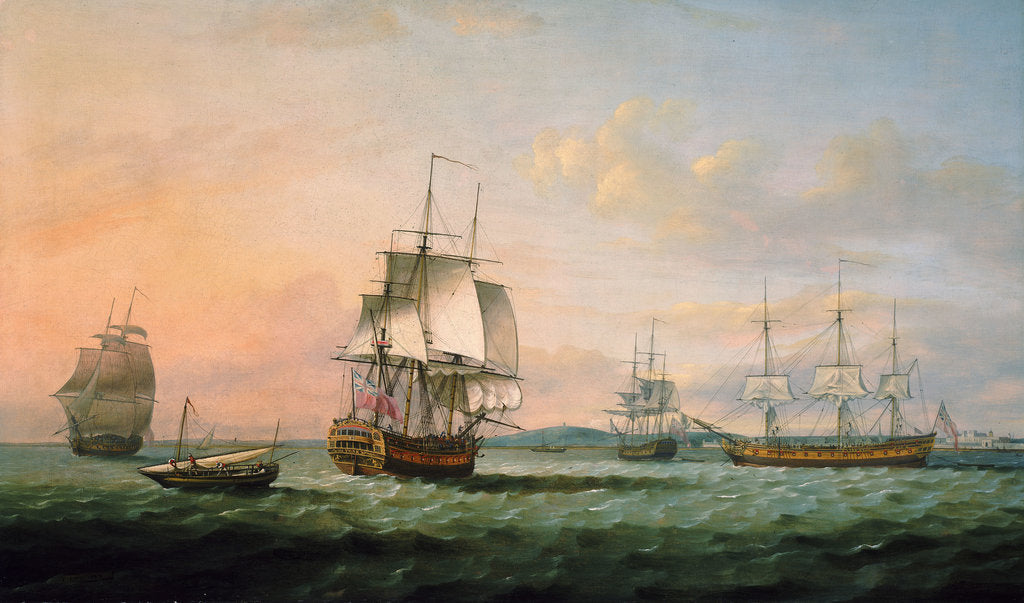 Detail of The East Indiaman 'York' and other vessels by Thomas Luny