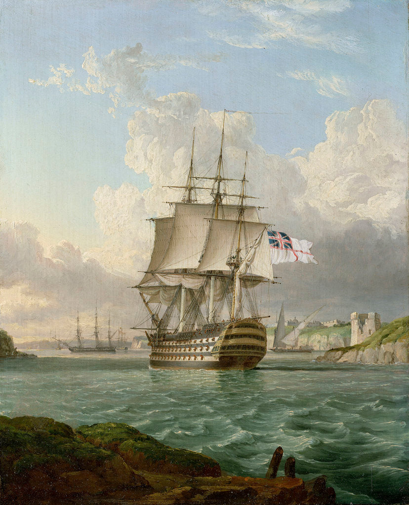 Detail of HMS 'Britannia' leaving a Mediterranean harbour by Robert Strickland Thomas
