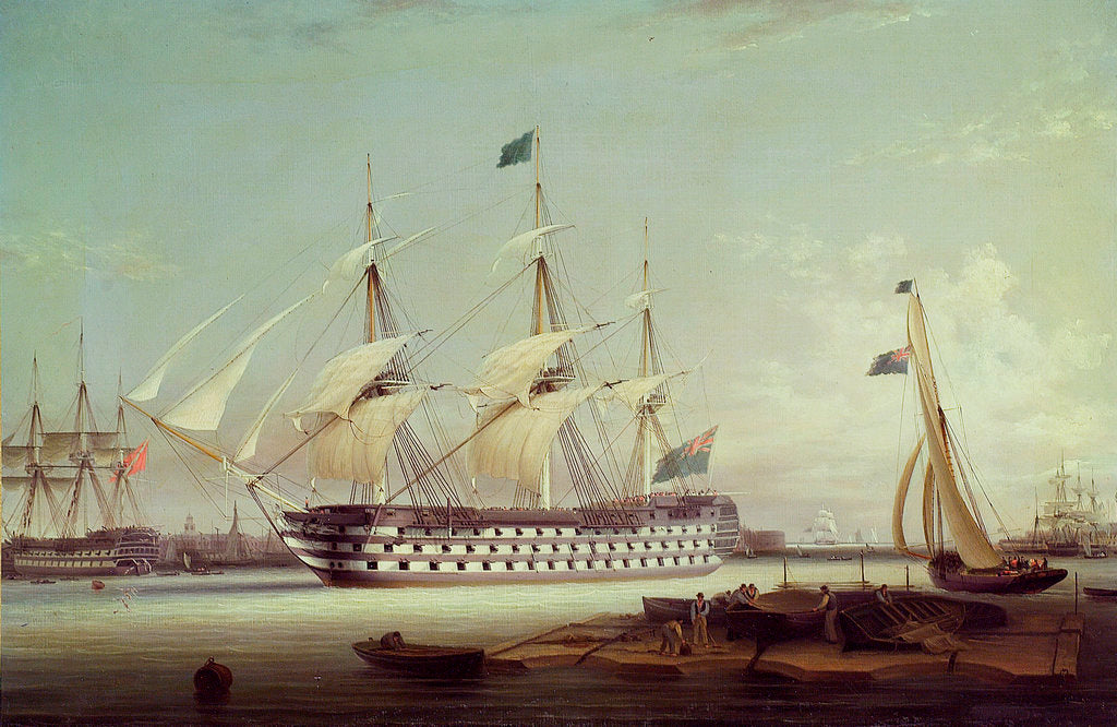 Detail of HMS 'Britannia' entering Portsmouth harbour by Robert Strickland Thomas