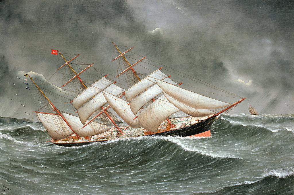 Detail of The barque 'Camphill' in a rough sea by Joseph Fannen