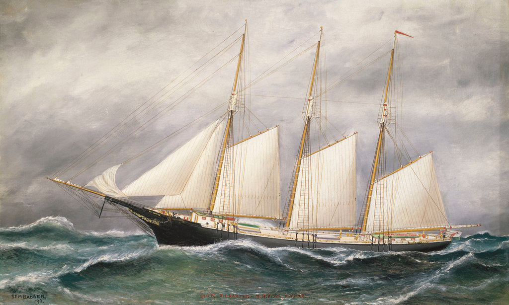 Detail of The schooner 'Robert Ingle Carter' by Solon Francis Montecello Badger