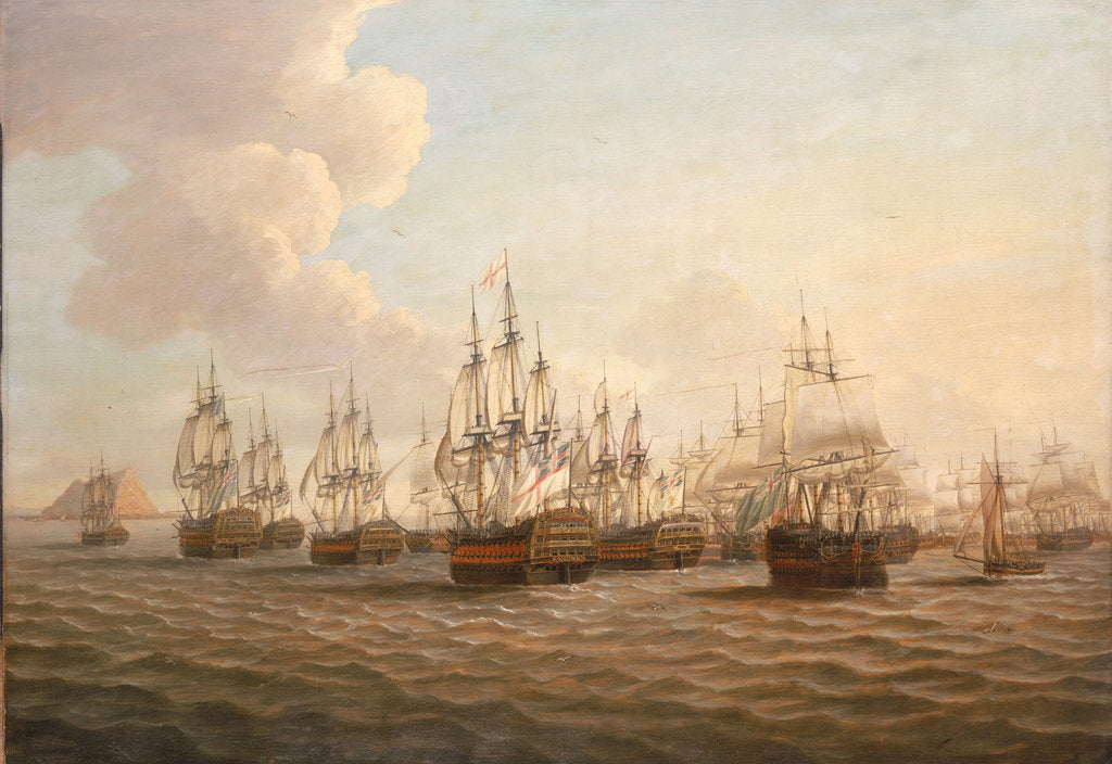 Detail of Rodney's fleet taking in prizes after the Moonlight Battle, 16 January 1780 by Dominic Serres the Elder