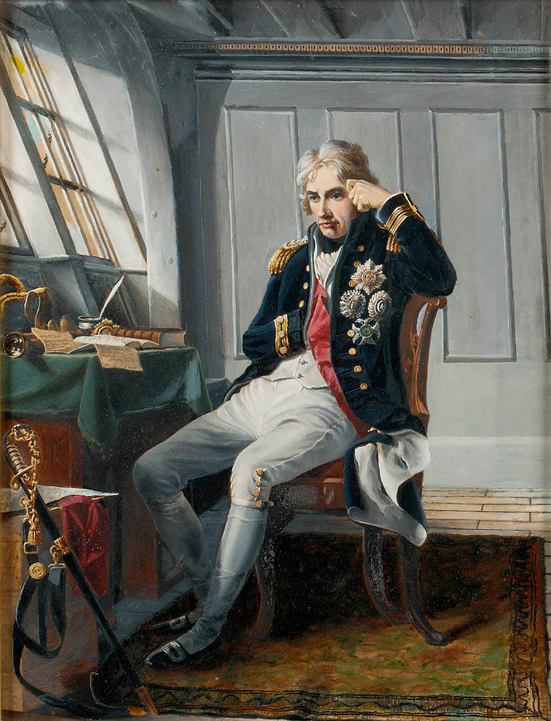 Detail of Viscount Horatio Nelson (1758-1805), before the Battle of Trafalgar, 21 October 1805 by George Lucy Good