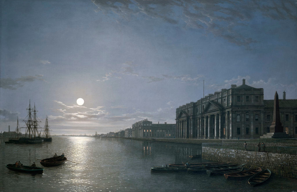 Detail of The Thames and Greenwich Hospital by moonlight by Henry Pether