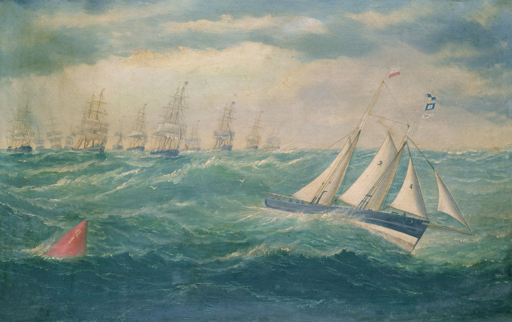 Detail of Liverpool pilot schooner No 2, the Leader, leading a fleet of vessels over the Mersey bar during a gale, 8 February 1881 by William Howard Yorke
