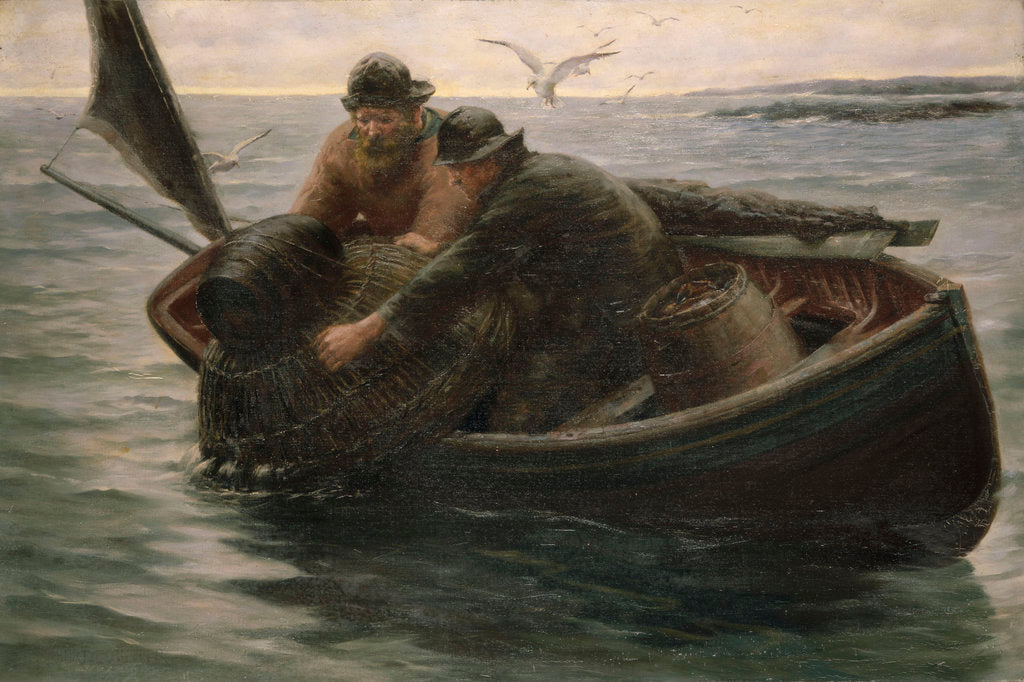Detail of Hauling in the lobster pot by Herbert E. Butler