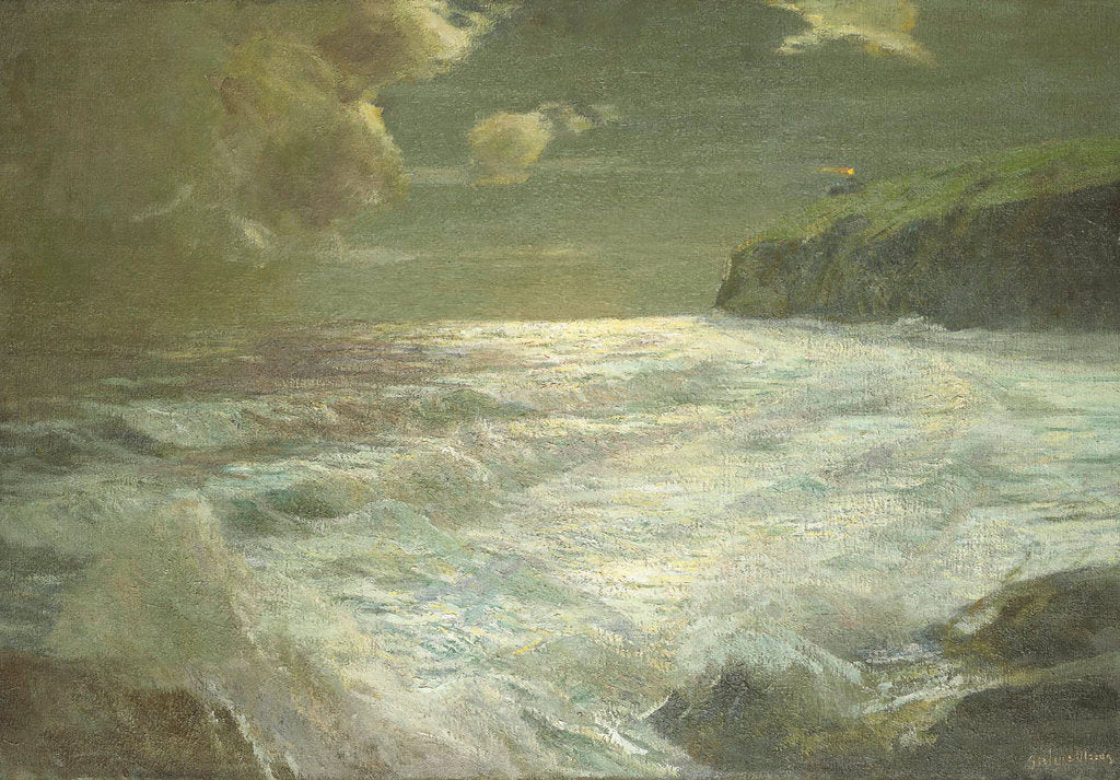 Detail of A coastal view with a lighthouse by Julius Olsson