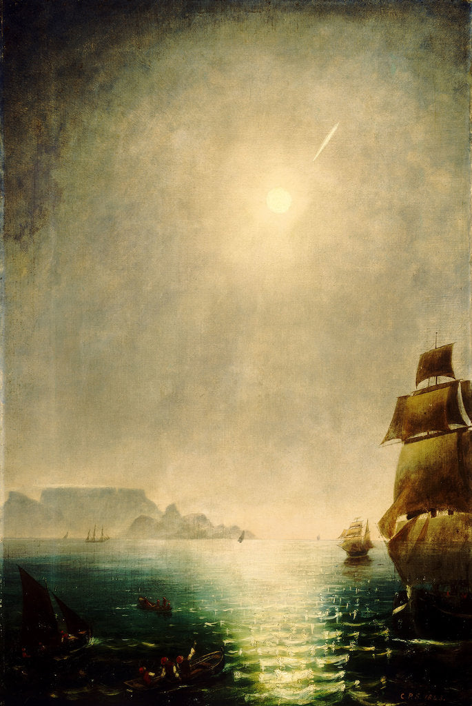 Detail of Moonlight view over Table Bay showing Halley's comet by Charles Piazzi Smyth