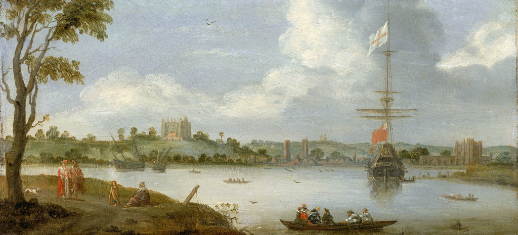 Detail of Greenwich Palace from the north east with a man-of-war by unknown